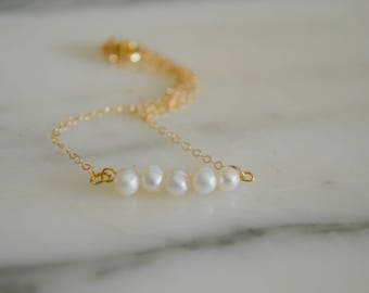 Gold Freshwater Pearl Row Necklace