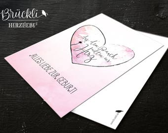 Postcard / card / greeting card / card to the birth / birth card / greeting card