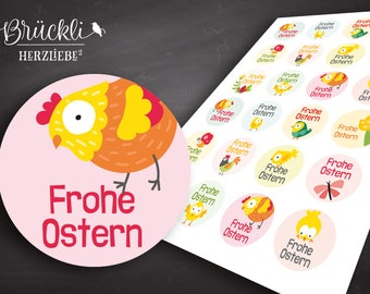 24 stickers/stickers/labels/colourful Easter greetings/Easter/Easter Egg/Easter Bunny/Happy Easter/Easter decoration