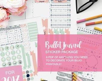 bullet journal PDF stickers package - v08 - pink and mint - journaling kit, bujo printables, bullet journaling