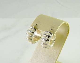 Chunky Ribbed Sterling Hoops Pierced