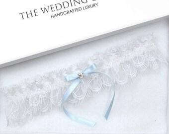 Wedding Garter, Bridal Garter, White Garter, White Wedding Garter, Blue Wedding Garter, White Eyelash Lace Garter, Toss Garter, Blue Garter