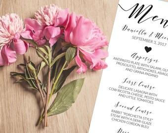 Rustic Heart Calligraphy Wedding Menu Printable Template, Dinner Menu Cards, Bridal Shower, Rehersal Dinner, Instant Download, ISP055