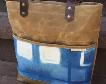 Waxed Canvas Tote with Shibori detail