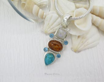 Moonstone Amber Turquoise and Blue Topaz Sterling Silver Pendant and Chain