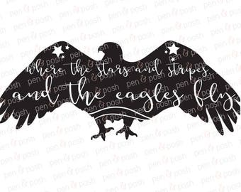 Svg - Eagle SVG - 4th of July Svg - American Eagle Clip Art - Where the Stars and Stripes and the Eagles Fly - July 4th Clip Art
