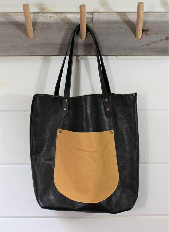 Black Leather + Deerskin Tote