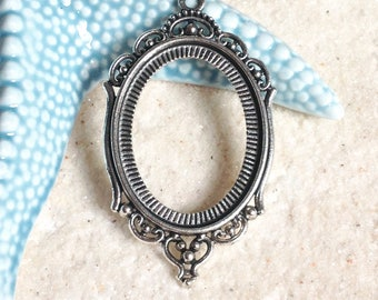 Support for 40X30mm / silver cabochon carrier / holder pendant