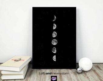 moon phases print, moon phases art, moon poster, Minimalist Printable art, moon phases, luna print, lunar print, Black Wall Art, moon,
