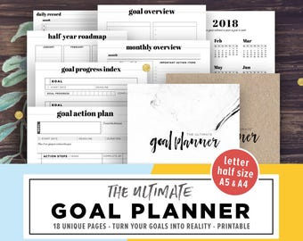 Goal Planner Printable 2018, Goal Digger, Goal Tracker, Goal Board, Goal Setting, Productivity Goals, Filofax A5, Half Size, PDF