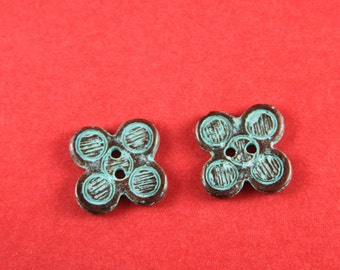 1A/4 MADE in GREECE 2 Mykonos casting buttons, green patina button, metal button (mb13acg) Qty2