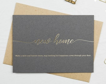 New Home Card, Housewarming Card, Gold Foil Card, New House Card, Make A Wish Card, Letterpress Card, Greeting Card, Poem Card, Moving Card