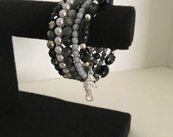 When Skies are Gray Memory Wire Bracelet