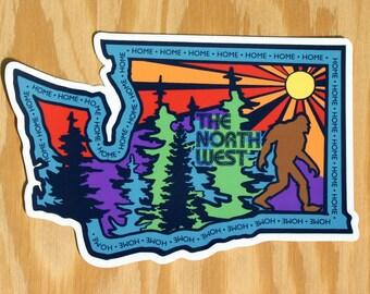The Northwest Sasquatch Sticker -- Washington Home -- WA sticker -- Northwest Decal -- WA State -- Bigfoot Sticker -- Sasquatch Decal -- PNW
