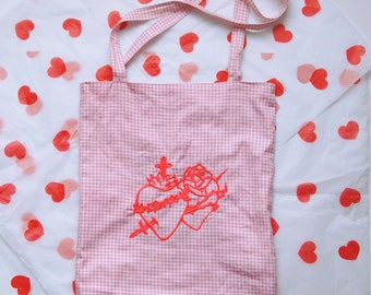 Tote bag embroidered neon Leopoldine Chateau logo and gingham pink