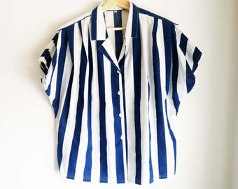 Blue and white line blouse