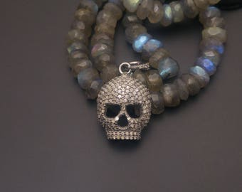 Pave Skull Charm - 925 Sterling Silver - Pave Diamond Skull Charm Pendant - Pave Diamond Fidnings - Skull Bracelet Charm - Pave Findings