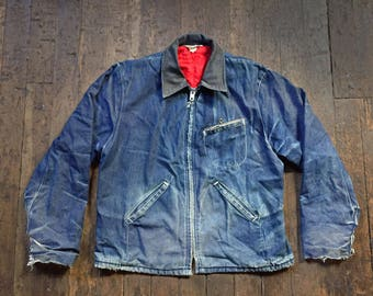 1960s vintage Key Imperial half belt bi swing back quilt lined denim jacket with perfect fades