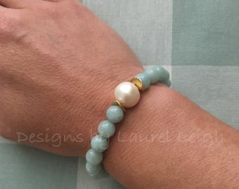 AMAZONITE and PEARL Beaded Bracelet | spa blue, light blue, aqua, gemstone, high quality, gold plated, stretchy, Designs by Laurel Leigh