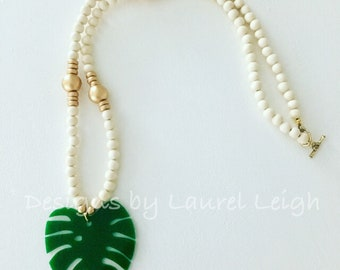 Palm Leaf Beaded Necklace | green, emerald, white, gold, long, statement necklace, Designs by Laurel Leigh
