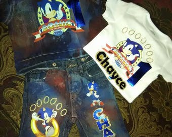 Denim Set, Birthday Set, Boys Birthday Set, Sonic the Hedgehog, Custom Birthday Set, 1st Birthday,Vest