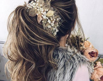 Wedding Hair Accessories/Pearl Bridal Comb/Wedding Headpiece/Bridal Pearl/Gold Flower Headpiece/Floral Wedding Comb/Flower Hair Clip