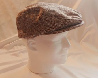 1950s USA Union Brown Tweed Newsboy Cap / Driving/Golf Hat