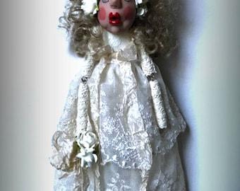 Bride Doll, Cloth Doll, Wood Doll, Whimsical Doll, Polymer Clay Doll, Shabby Chic Lady