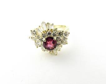 Vintage 14 Karat Yellow Gold Ruby and Diamond Ring Size 5.5 #2915
