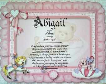 Abigail First Name Meaning Art Print Newborn Personalized Art First Name  Meaning Baby