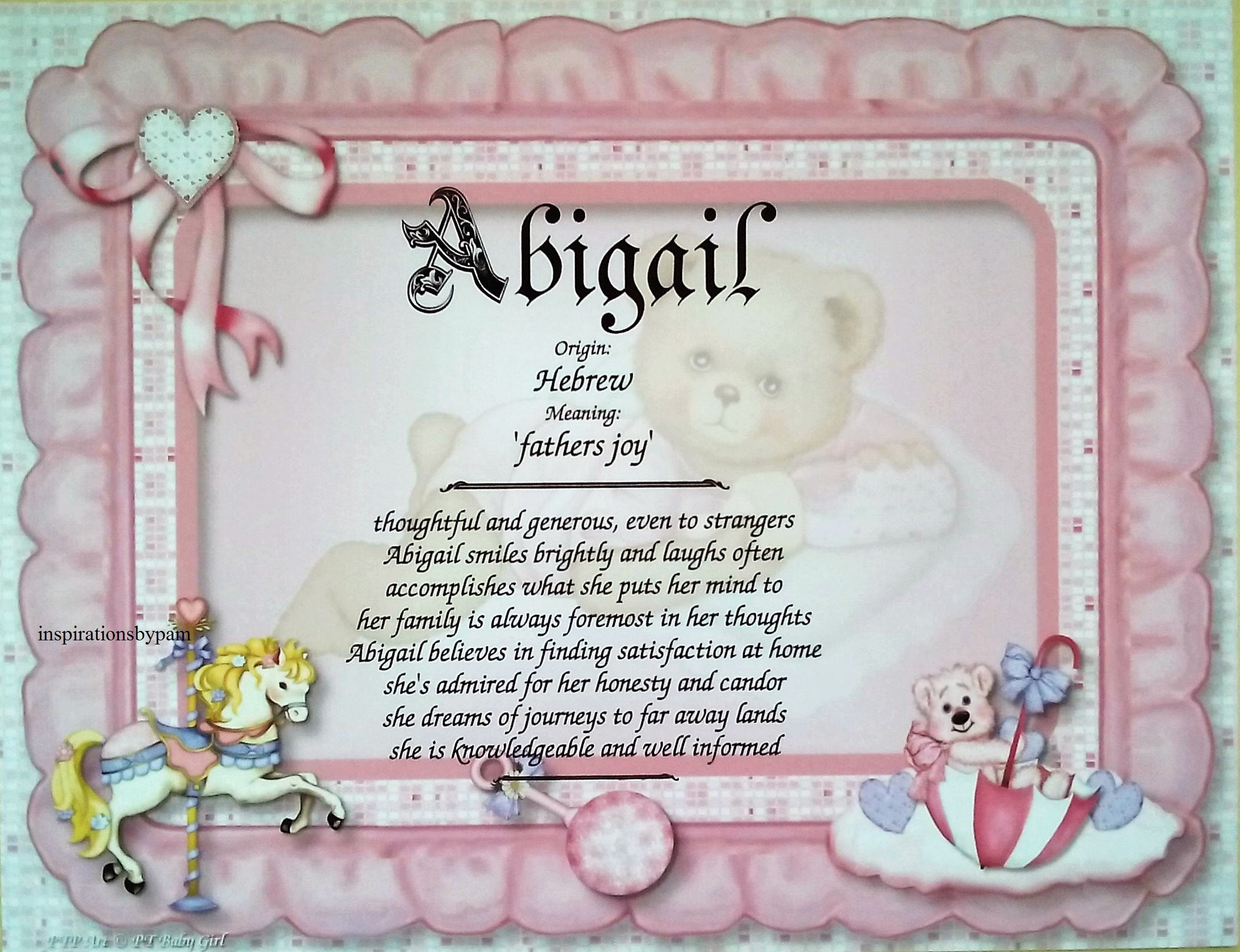 Abigail First Name Meaning Art Print-Newborn Personalized