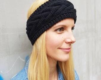 Black ear warmer headband, knit headband, Christmas gift for her, gift for girlfriend, knitted headband, winter accessories, winter headband