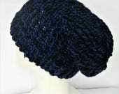 Blue and black hat recycled yarn hat dreadlock tams bohemian style hat slouchy beanie slouch knit hat christmas in july beany hat