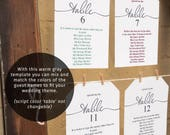 Wedding seating chart, individual printable table plans, warm gray font color, reception seating ideas, DIY templates 5x7 and 6x4 inch