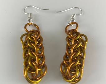 Yellow and Orange Full Persian Chainmaille Dangle Earrings