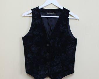 Women's Black Floral Print Vest Vintage Black Corduroy Vest Fitted Vest Corduroy Waistcoat Flowers Print Vest Renaissance Baroque Victorian