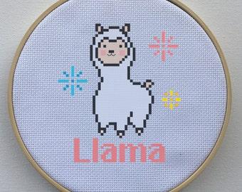 Modern Animal Cross Stitch Chart, Cross Stitch Pattern - Llama Alpaca Counted Cross-Stitch Pattern - Silly, Funny, Happy, Cute, Cheesy
