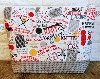 Project Bag, Knitting Project Bag, Knitting Quotes Bag, Knitting Bag, Zippered Project Bag, Knitting bag Zipper, Wedge Project Bag