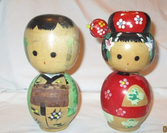 Vintage Wood Kokeshi Bobble Head Nodding Dolls  Boy & Girl 7 1/2 In Tall