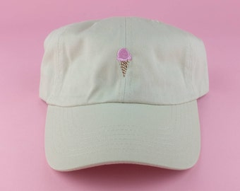 Pink Ice Cream Cone Hat - Tan Embroidered Dad Hat - Polo Hat - Curved Brim Six Panel Fabric Strap Hat - Cute Hat - Gucci - Brand New