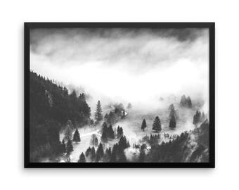 Trees In the Fog Photo Print | Wall Art | Cheap Art Prints | Large Wall Art | Poster | Home Decor | Forest | Black & White Photography Print
