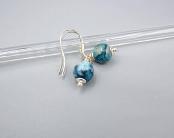 Blue Crazy Lace Agate Earrings, turquoise blue Earrings, minimalist Earrings , 925 Silver