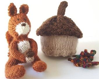 Hand Knit Newborn Size Woodland Prop Set. MADE TO ORDER. Fall Newborn Photo Props. Squirrel Stuffie. Acorn Beanie. Autumn Photo Prop Set.