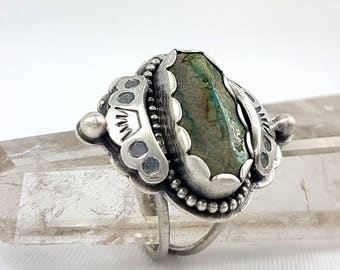 LaoOne * Sterling Silver Ring * stunning Statement green Turquoise Ring