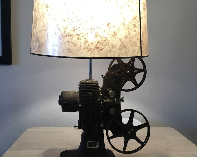 Vintage movie projector lamp. 1940's.  Beautiful lighting for any room. Film lovers lamp.