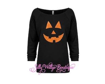 Pumpkin Face Shirt,  Halloween shirt, Jack O Lantern shirt, Pumpkin shirt, Halloween costume, Halloween party shirt, Pumpkin face, Raw Edge