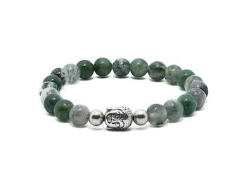 Moss Agate Bracelet - Green Bracelet, Nature Jewellery, Vegan Bracelet, Gifts for Her, Gifts for Him, Gemstone Bracelet, Moss Agate