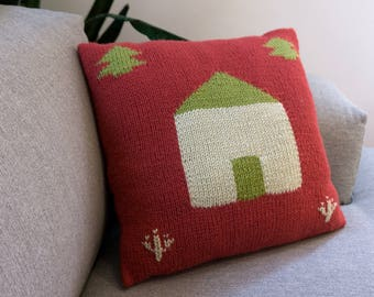 Homey Pillow, Knitted Pillow, Knitted House, Home & Living Decor, Kids Decor