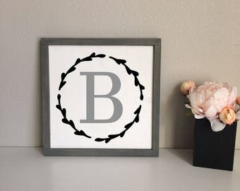 Rustic Farmhouse Initial Framed Wood Sign, Home sign, Baby Name Nursery Sign, Grey and White, Modern Hand-Painted Sign