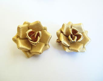 Gold Clip On Earrings - Gold Roses Vintage Earrings